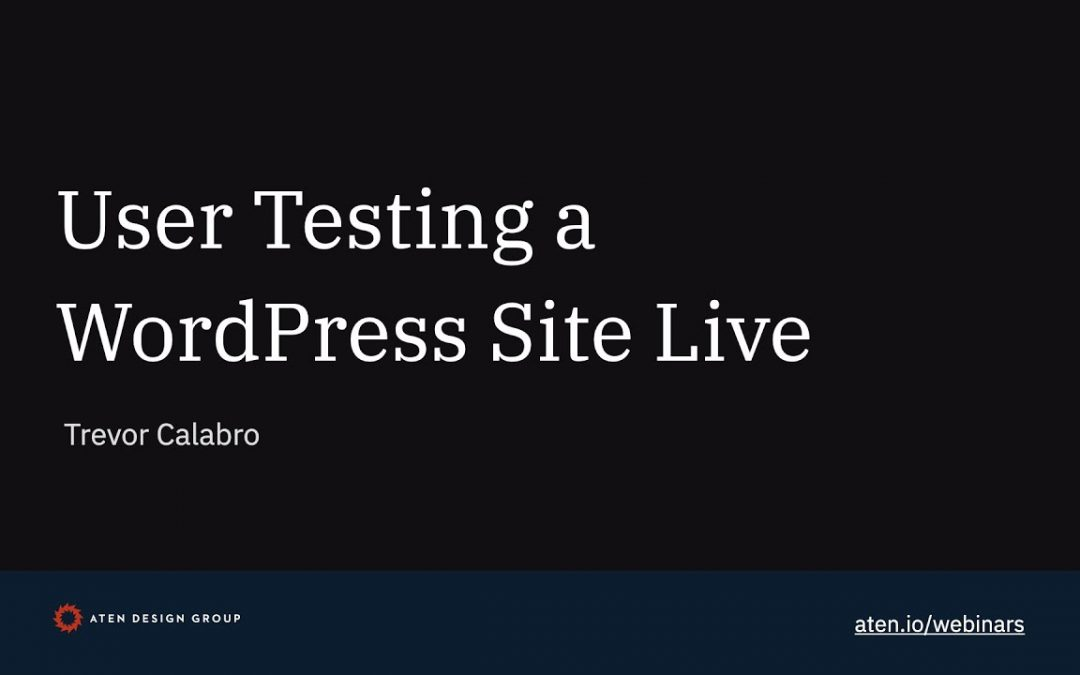 User Testing a WordPress Site Live